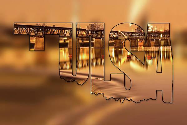 Photograph - Tulsa Oklahoma Typography Blur - State Shape Series - Liquid Gold - 21st Street Bridge by Gregory Ballos