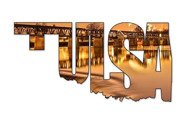 Photograph - Tulsa Oklahoma Typography - State Shape Series - Liquid Gold - The 21st Street Bridge  by Gregory Ballos
