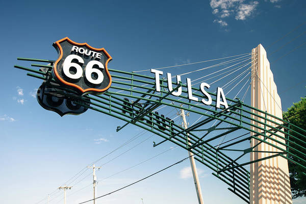 Photograph - Tulsa Oklahoma Vintage Route 66 Sign - Color by Gregory Ballos