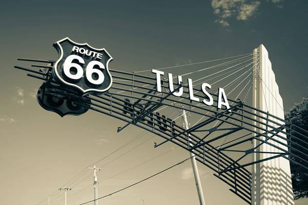 Six Wall Art - Photograph - Tulsa Oklahoma Vintage Route 66 Sign - Dark Sepia by Gregory Ballos