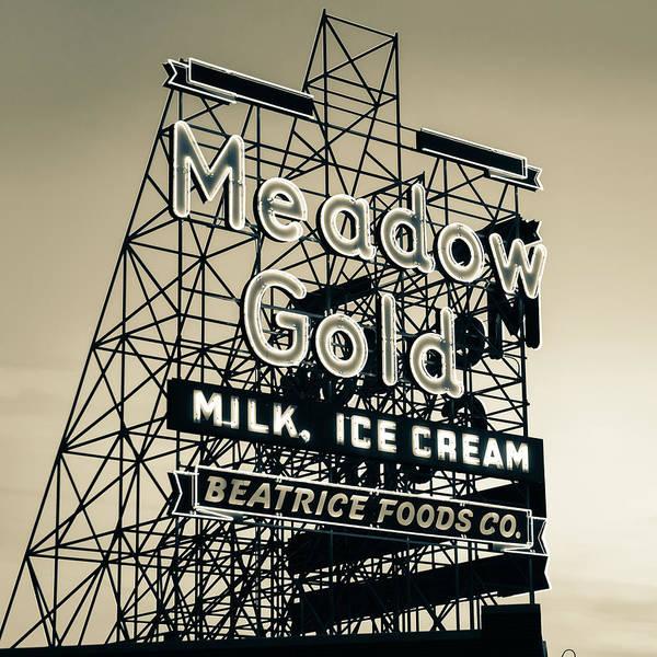 Photograph - Tulsa Route 66 Meadow Gold Vintage Neon - Sepia 1x1 by Gregory Ballos