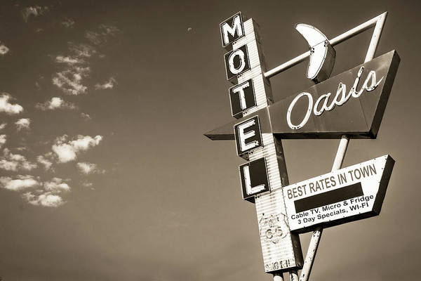 Photograph - Tulsa Route 66 Oasis Motel Neon Sign - Sepia by Gregory Ballos
