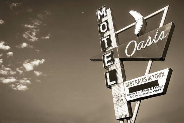 Photograph - Tulsa Route 66 Oasis Motel Neon Sign - Sepia by Gregory Ballos