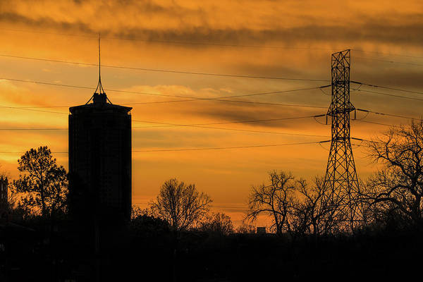 Photograph - Tulsa Silhouettes And Golden Skies - University Tower Morning  by Gregory Ballos