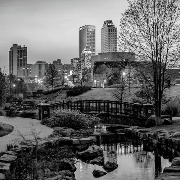 Centennial Bridge Photograph - Tulsa Skyline Park View - Black And White by Gregory Ballos