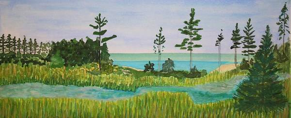 Painting - Tombolo Loop On Stockton In The Apostle Islands by Polly Castor
