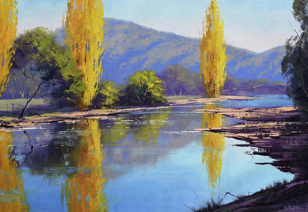 Wall Art - Painting - Tumut River Poplars by Graham Gercken