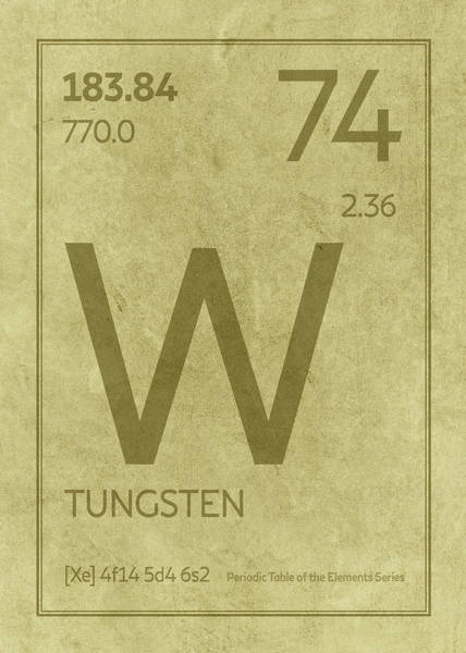 Atomic Number Wall Art - Mixed Media - Tungsten Element Symbol Periodic Table Series 074 by Design Turnpike
