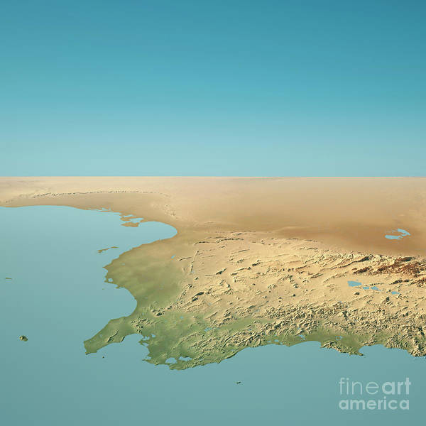 Tunisia Digital Art - Tunisia 3d Render Topographic Landscape View From North by Frank Ramspott