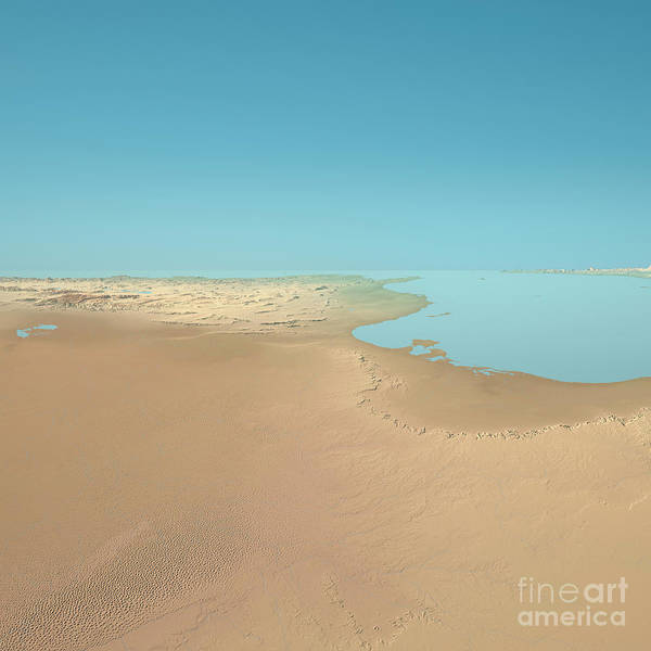 Tunisia Digital Art - Tunisia 3d Render Topographic Landscape View From South by Frank Ramspott