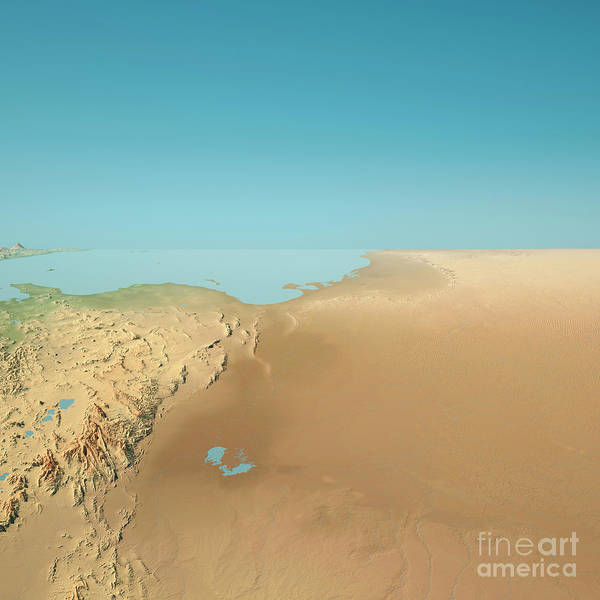 Tunisia Digital Art - Tunisia 3d Render Topographic Landscape View From West by Frank Ramspott