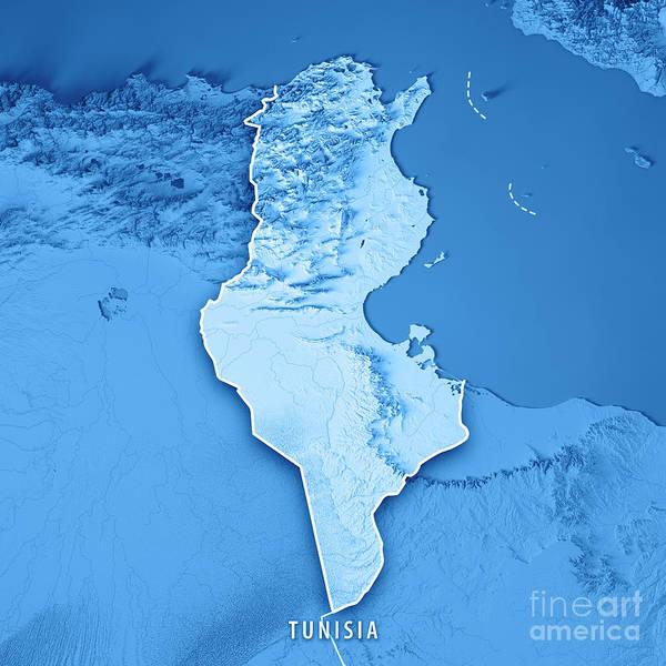 Tunisia Digital Art - Tunisia 3d Render Topographic Map Blue Border by Frank Ramspott