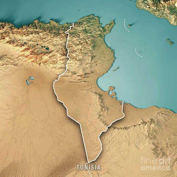 Tunisia Digital Art - Tunisia 3d Render Topographic Map Border by Frank Ramspott