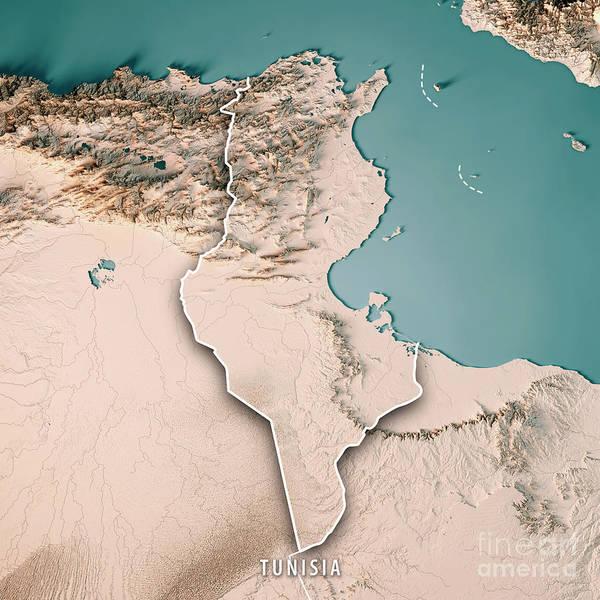 Tunisia Digital Art - Tunisia 3d Render Topographic Map Neutral Border by Frank Ramspott