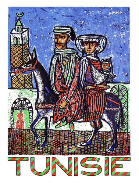 Tunisia Wall Art - Painting - Tunisia, Couple On A Horse, Traditional Art by Long Shot