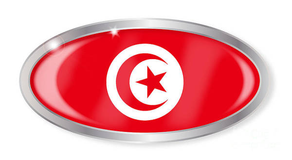 Tunisia Digital Art - Tunisia Flag Oval Button by Bigalbaloo Stock