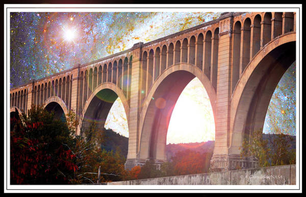 Tunkhannock Viaduct, Nicholson Bridge, Starry Night Fantasy Art Print