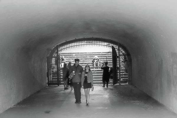 Photograph - Tunnel Music Bw by Bonnie Follett