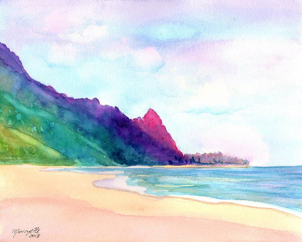 Painting - Tunnels Beach 4 by Marionette Taboniar