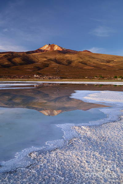 Photograph - Tunupa Volcano Reflected In Salar De Uyuni At Twilight Bolivia by James Brunker