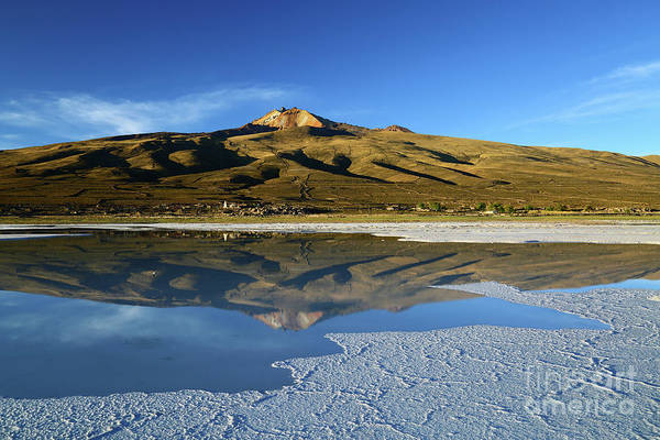 Photograph - Tunupa Volcano Reflected In Salar De Uyuni Bolivia by James Brunker