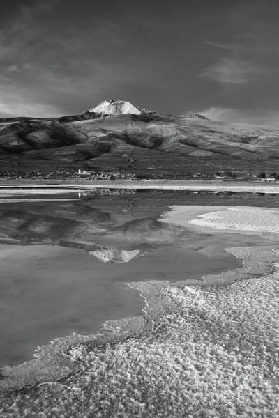 Photograph - Tunupa Volcano Reflections In Black And White Bolivia by James Brunker