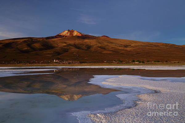 Photograph - Tunupa Volcano Twilight Reflections Salar De Uyuni Bolivia by James Brunker
