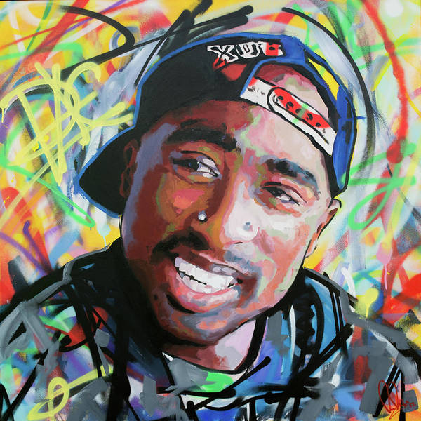 Spray Paint Painting - Tupac Portrait by Richard Day
