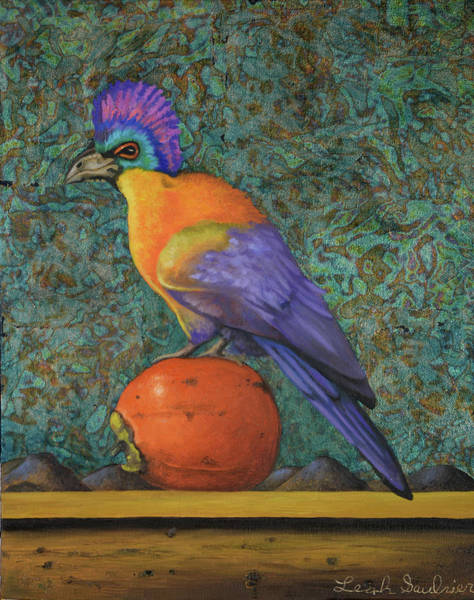 Painting - Turaco On A Persimmon by Leah Saulnier The Painting Maniac
