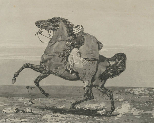 Relief - Turk Mounting His Horse by Eugene Delacroix
