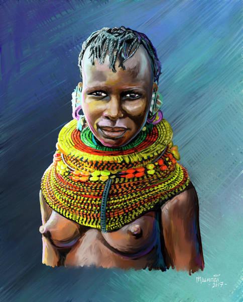 Rasta Painting - Turkana Girl by Anthony Mwangi