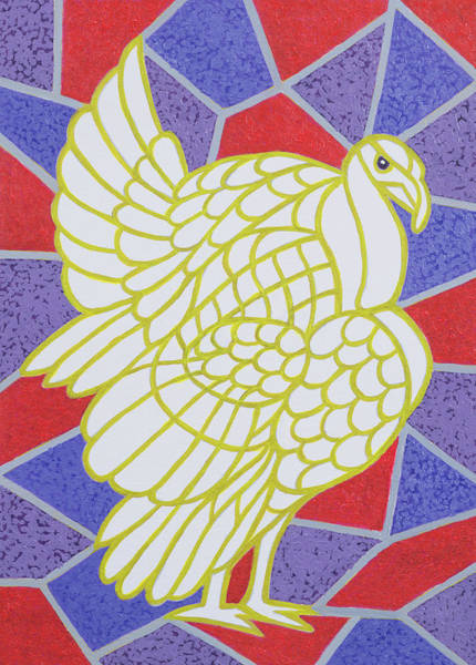 Thanksgiving Wall Art - Painting - Turkey On Stained Glass by Pat Scott