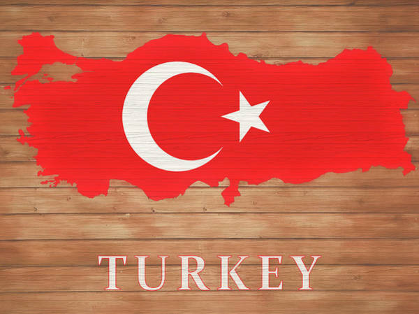 Turkish Mixed Media - Turkey Rustic Map On Wood by Dan Sproul