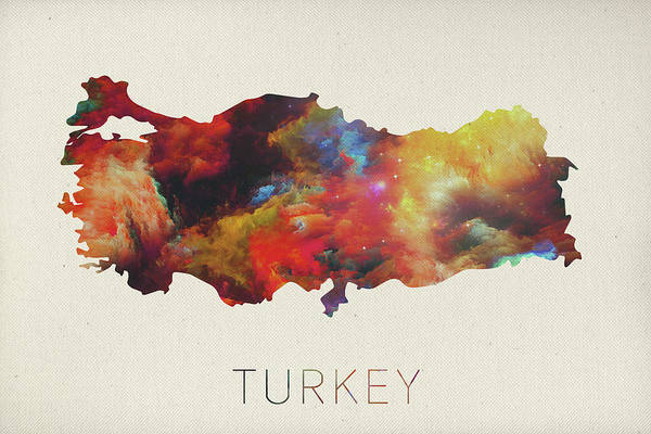 Turkish Mixed Media - Turkey Watercolor Map by Design Turnpike