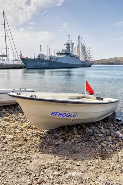 Wall Art - Photograph - Turkish Navy Ship And Dinghy by David Pyatt