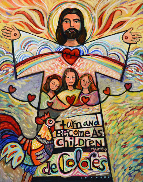 Holy Spirit Painting - Turn And Become As Children by Jen Norton