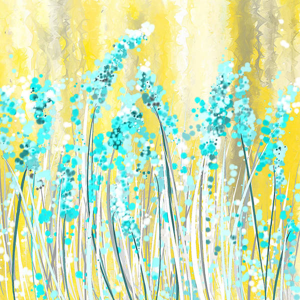 Turquoise And Yellow Art Print