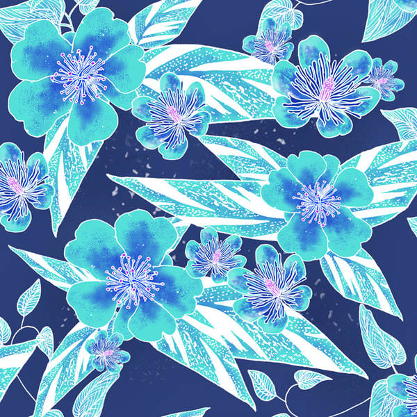 Digital Art - Turquoise Batik Camellias And Ginger Large by Karen Dyson