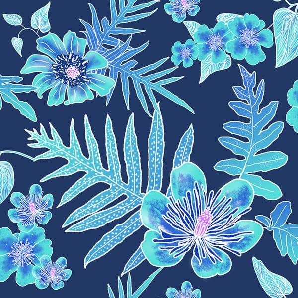 Digital Art - Turquoise Batik - Laua'e 12 by Karen Dyson