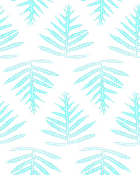 Digital Art - Turquoise Fern Array by Karen Dyson