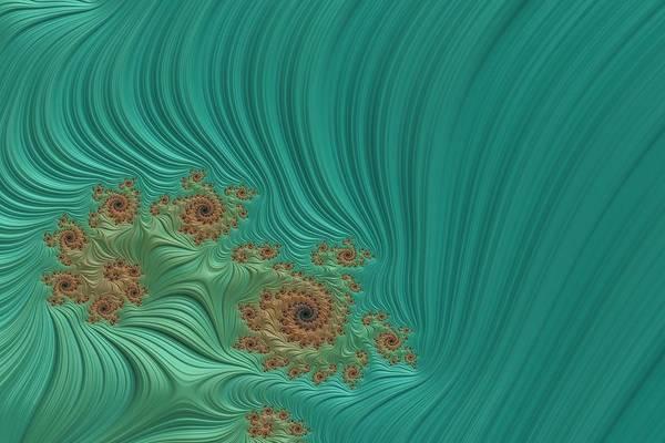 Wall Art - Digital Art - Turquoise Fractal 1 by Bonnie Bruno