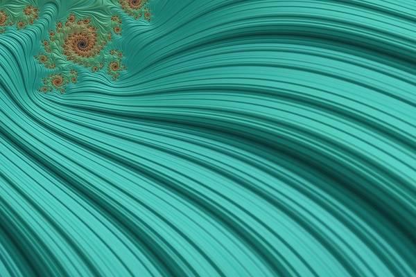 Wall Art - Digital Art - Turquoise Fractal2 by Bonnie Bruno