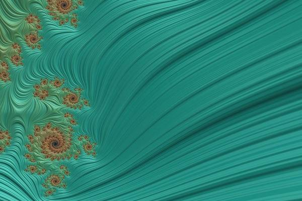 Wall Art - Digital Art - Turquoise Fractal4 by Bonnie Bruno