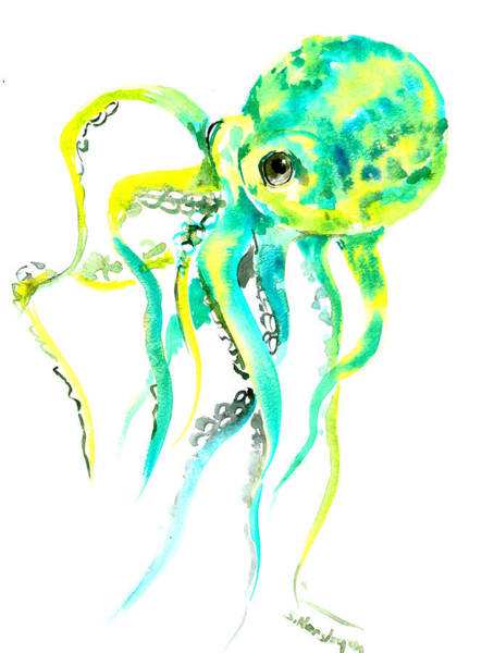 Wall Art - Painting - Turquoise Green Octopus by Suren Nersisyan