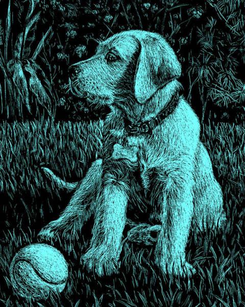 Painting - Turquoise Labrador Puppy Dog by Irina Sztukowski