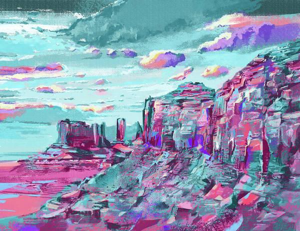 Wall Art - Digital Art - Turquoise Mountains by Bekim M