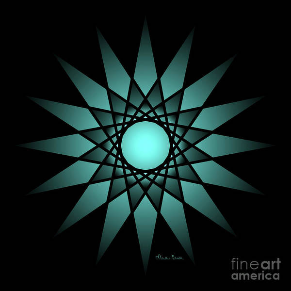 Digital Art - Turquoise Ombre Deep Gaze Mandala by Heather Schaefer