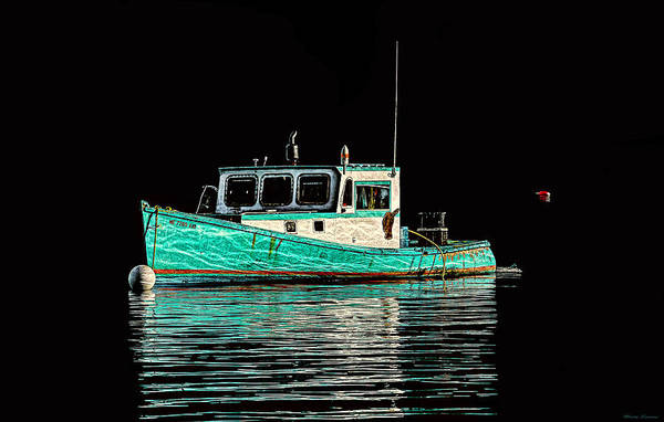 Photograph - Turquoise Lobster Boat At Mooring by Marty Saccone