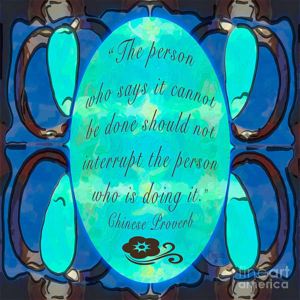 Digital Art - Turquoise Proverb Abstract Art By Omashte by Omaste Witkowski