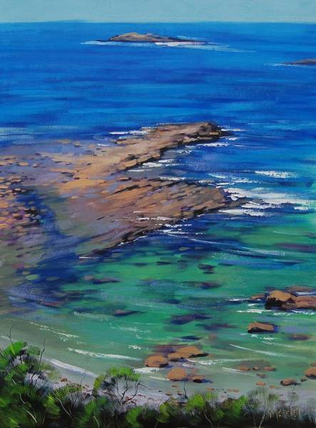 Turquoise Wall Art - Painting - Turquoise Seascape by Graham Gercken